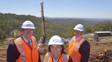 John McVeigh, Leeanne Enoch and Lockyer Valley councillor Jason Cook at the Toowoomba Second Range Crossing site.