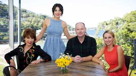 Silvia Colloca with author Kathy Lette, actress Lisa McCune and comedian Tom Gleeson in a scene from Silvia's Italian Table.