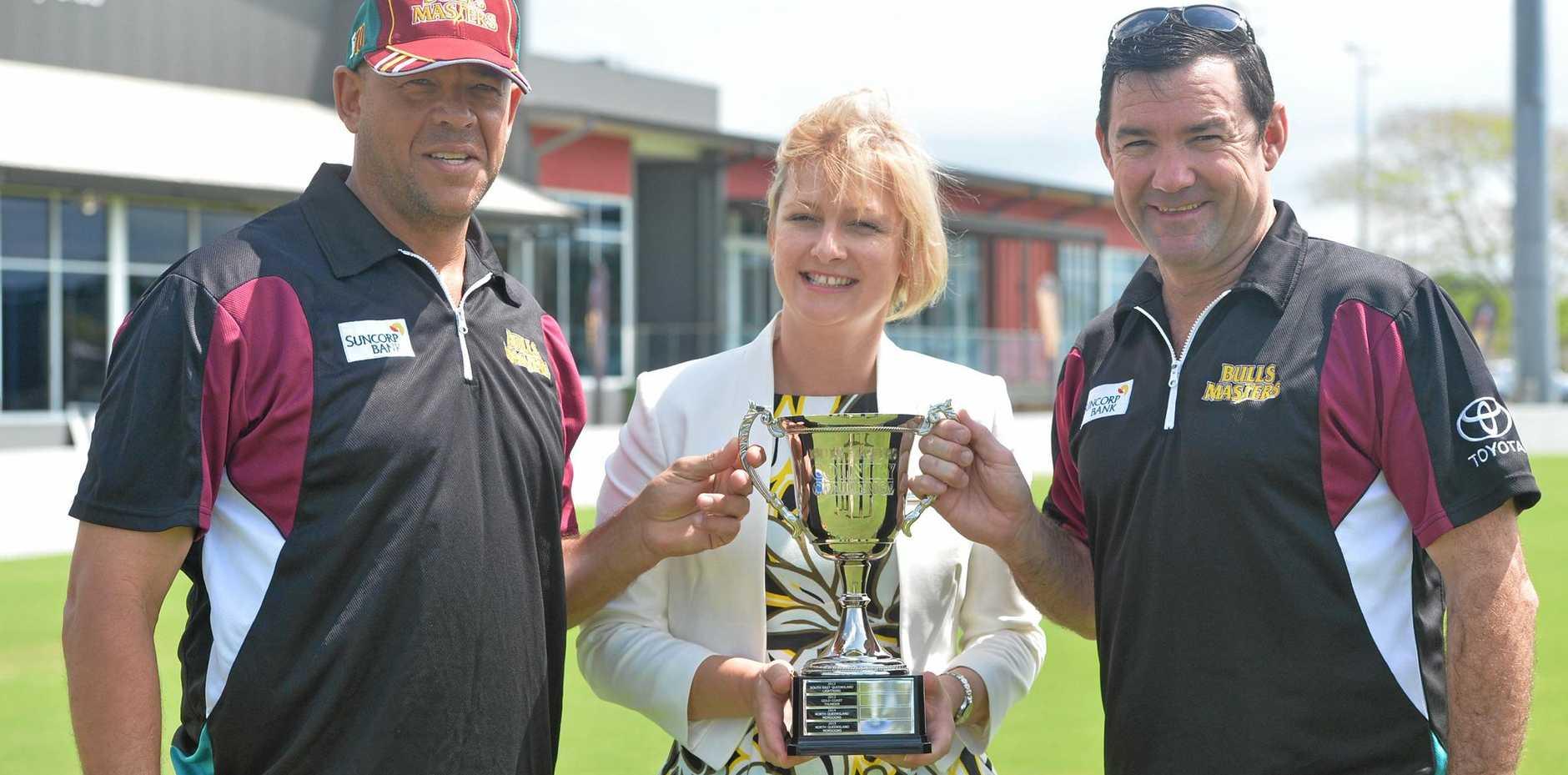 Mackay Regional Council deputy mayor Amanda Camm with Bulls Masters mentors Andrew Symonds and Jimmy Maher.