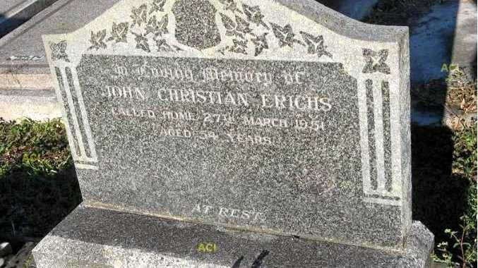 SAD STORY: John Christian Erichs and his sons are buried in the Casino general cemetery.