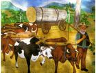 OLD WAY: This is one of the huge murals created by Peter Parsons which can be seen at the Ipswich Historical Society Cooneana Heritage Centre, New Chum.