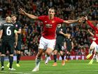 Manchester United's Zlatan Ibrahimovic celebrates after scoring the only goal of the game during the Europa League Group A soccer match against Zorya Luhansk at Old Trafford.