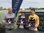 HAPPY DAYS: Trainer Stephen Lee, owner June Baker and jockey Tegan Harrison celebrating their win at the NRRA Country Championships qualifier with Profiler on Sunday March 6.
