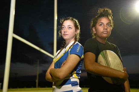 Fraser Coast rugby pair Jade Golchert and Jakara Miller.
