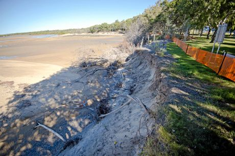 Water continues to erode Wild Cattle Creek in Tannum Sands.Photo Paul Braven / The Observer