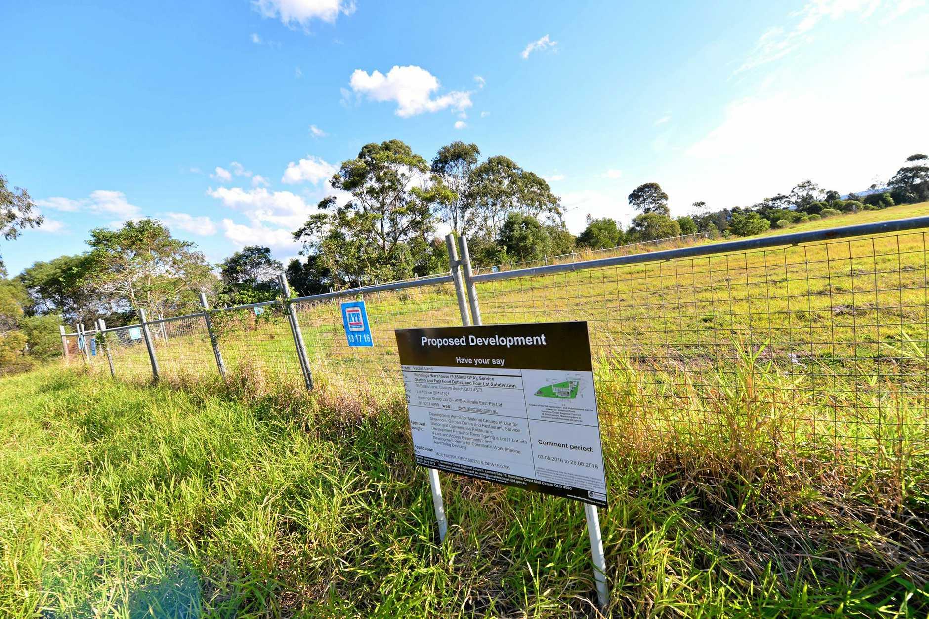 The proposed Bunnings Coolum site near the Sunshine Motorway.   Photo: John McCutcheon / Sunshine Coast Daily