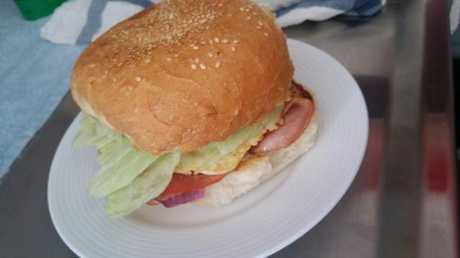 BLET burger with onion.