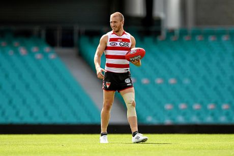 Sydney Swans player Kieren Jack takes part in a training session at the Sydney Cricket Ground, in Sydney, Thursday, Sept. 17, 2015. The Swans play North Melbourne in a sudden death semi-final clash at ANZ Stadium on Saturday. (AAP Image/Dan Himbrechts) NO ARCHIVING