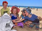 SEASIDE SCAVENGE: Ethan, Jasmine, Charlotte and Sienna Rourke help in the clean up of Mooloolaba Beach organised by Seaside Scavenge on Saturday, October 1, 2016.