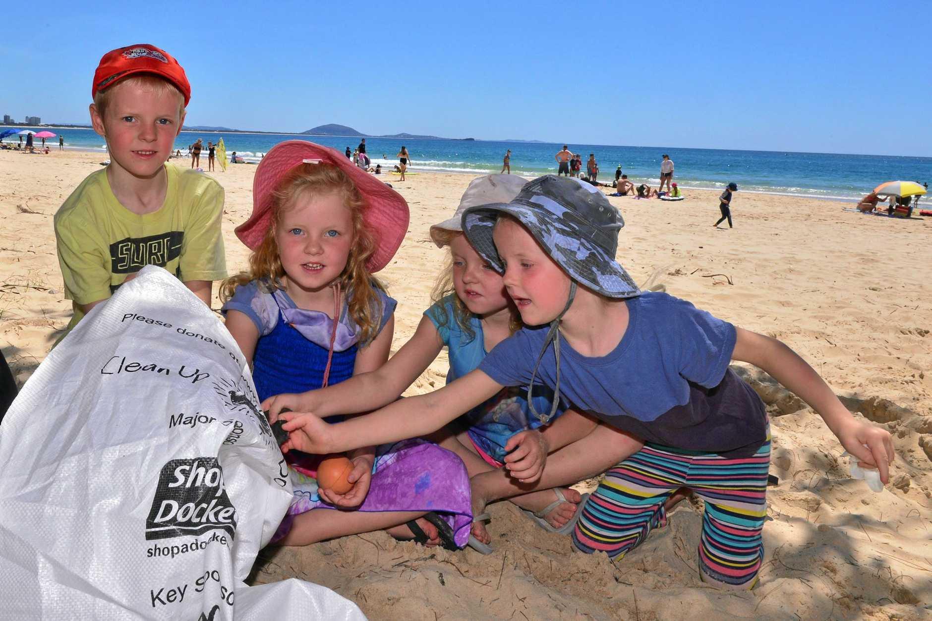 SEASIDE SCAVENGE: Ethan, Jasmine, Charlotte and Sienna Rourke help in the clean up of Mooloolaba Beach organised by Seaside Scavenge on Saturday, October 1, 2016.