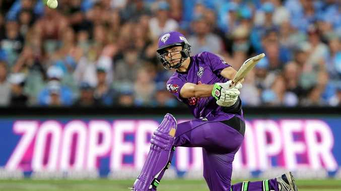 Simon Milenko plays a shot for the Hobart Hurricanes during the Big Bash League.