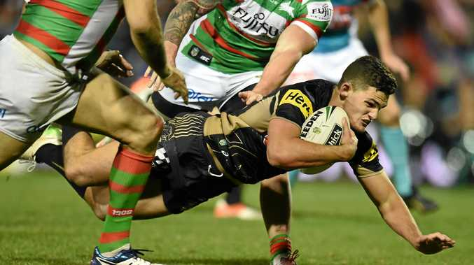 Nathan Cleary of the Panthers dives to score a try.