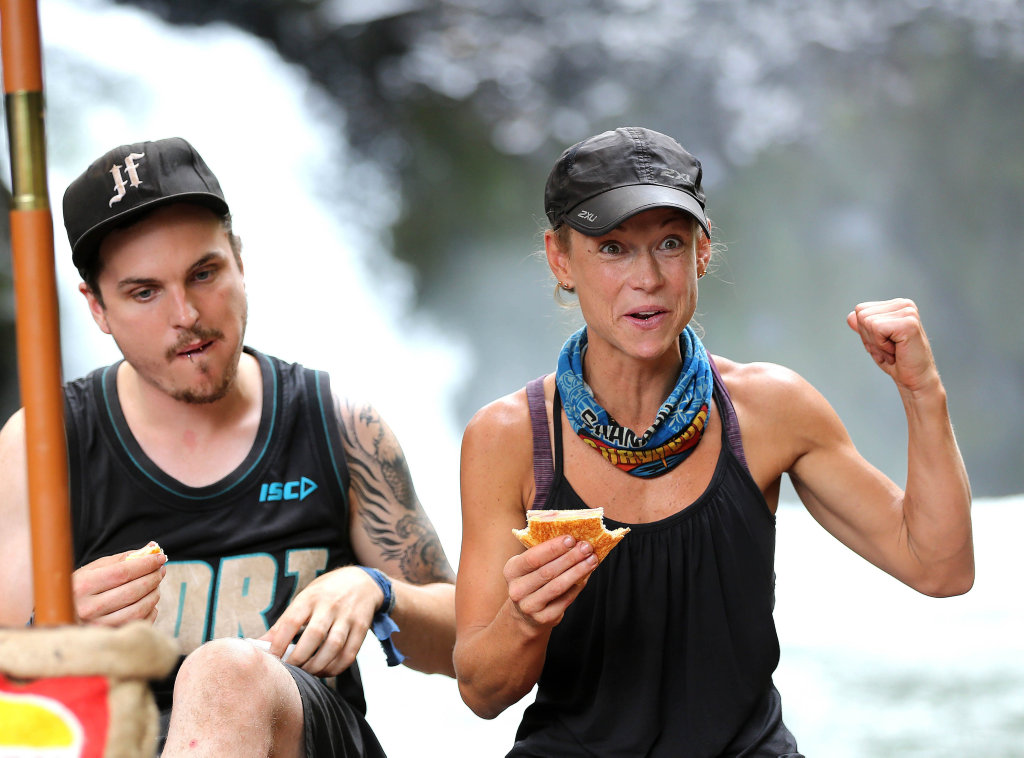 Australian Survivor contestant Kylie Evans pictured with Matt Tarrant.