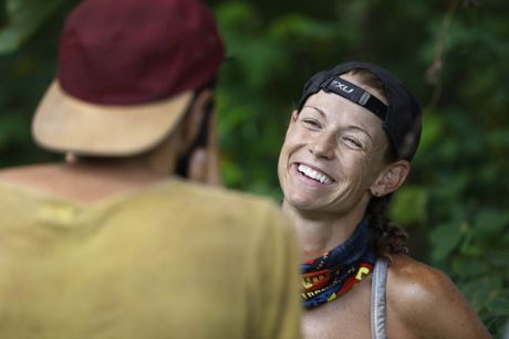 Kylie Evans speaks with Nick Iadanza in a scene from Australian Survivor.