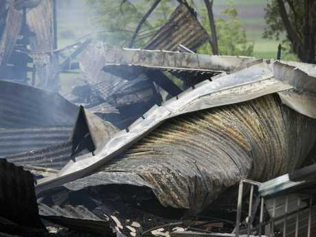 A house on Savage Rd, Cambooya has been completely destroyed by fire.