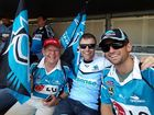Bob Little with his sons Andrew and Michael supporting the Sharks at the NRL grand final.