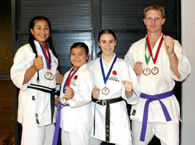 Ipswich Karate Association competitors (from left) Kalinaw Shepherd, Isabella Shepherd, Ciara Dodrill and Dennis Burkhardt.