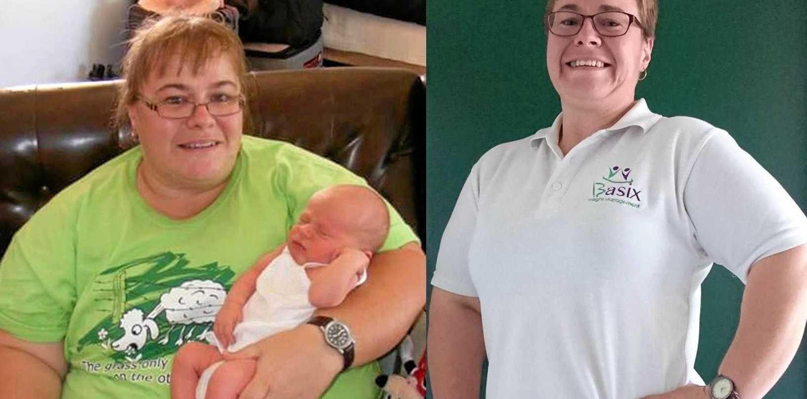 LEFT: Wendy Boshammer three years ago at her heaviest - 148kg. RIGHT: Ms Boshammer today, weighing 85kg.