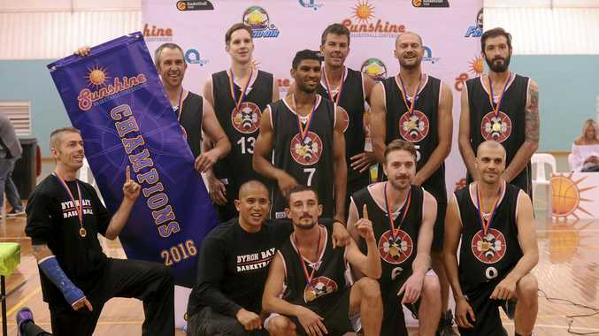 Byron Beez celebrate after clinching the Sunshine Conference championship with a 70-68 win over the Grafton Vikings in the final at the Grafton Sports Centre on Saturday night.