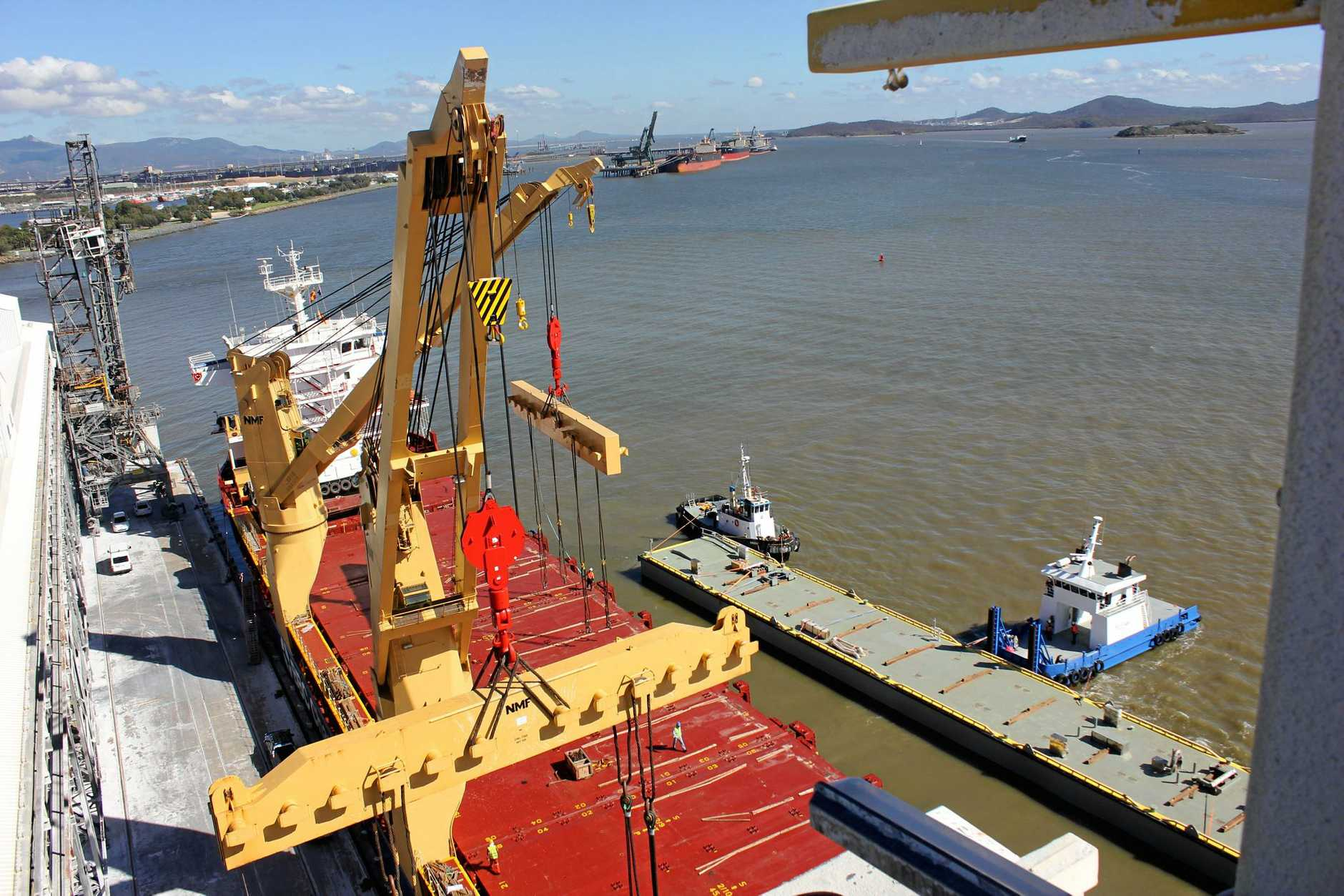 A pontoon for the new Tug Harbour facility is unloaded at Auckland Point Wharf.