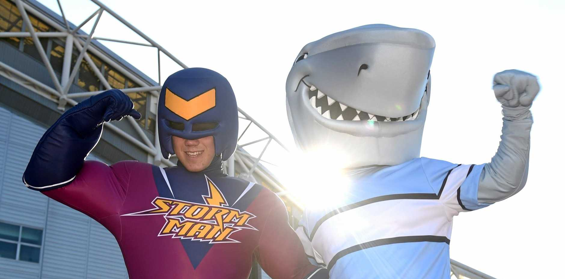 The Melbourne Storm and Cronulla Sharks mascots pose for a photograph before the NRL grand final at ANZ Stadium in Sydney.