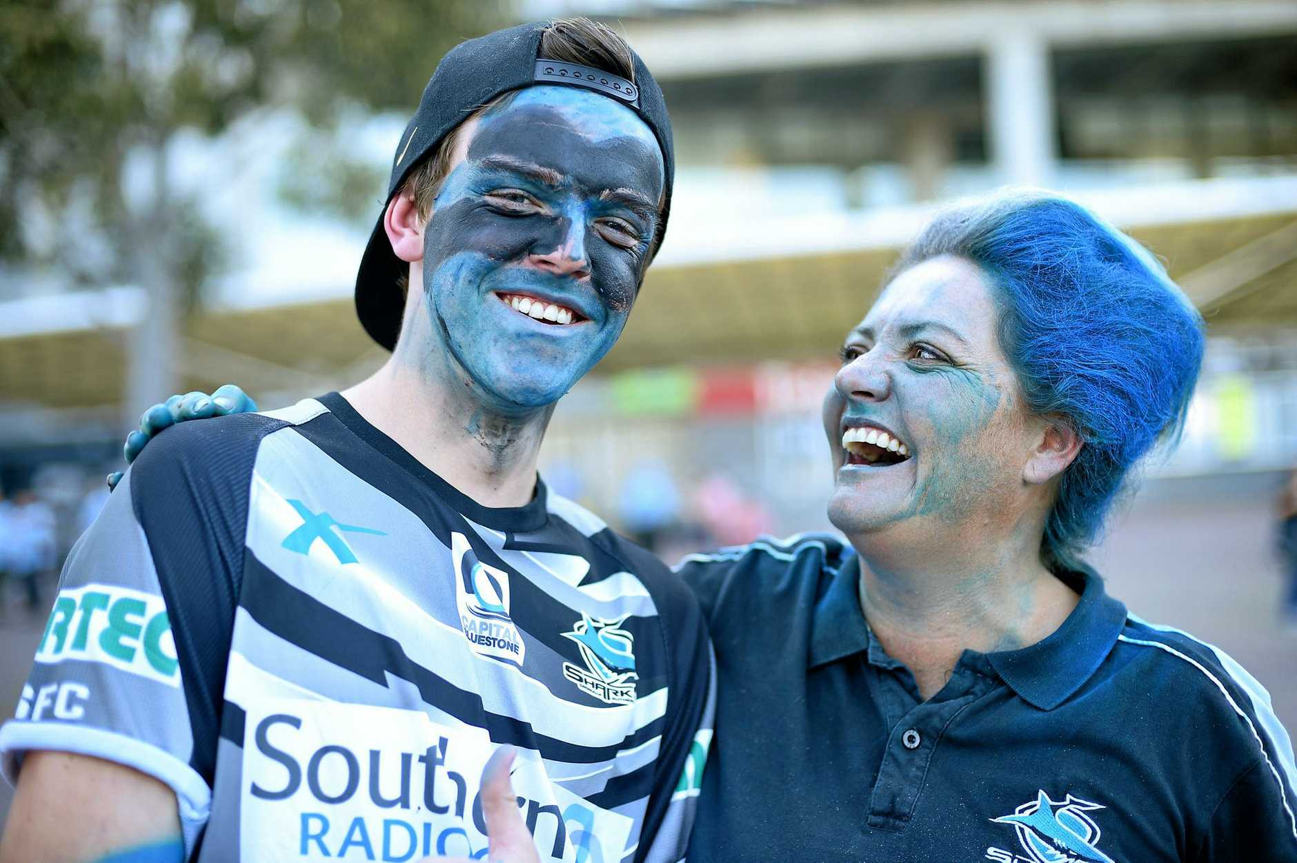 Sharks supporters ahead of the NRL grand final between the Melbourne Storm and the Cronulla Sharks at ANZ Stadium.