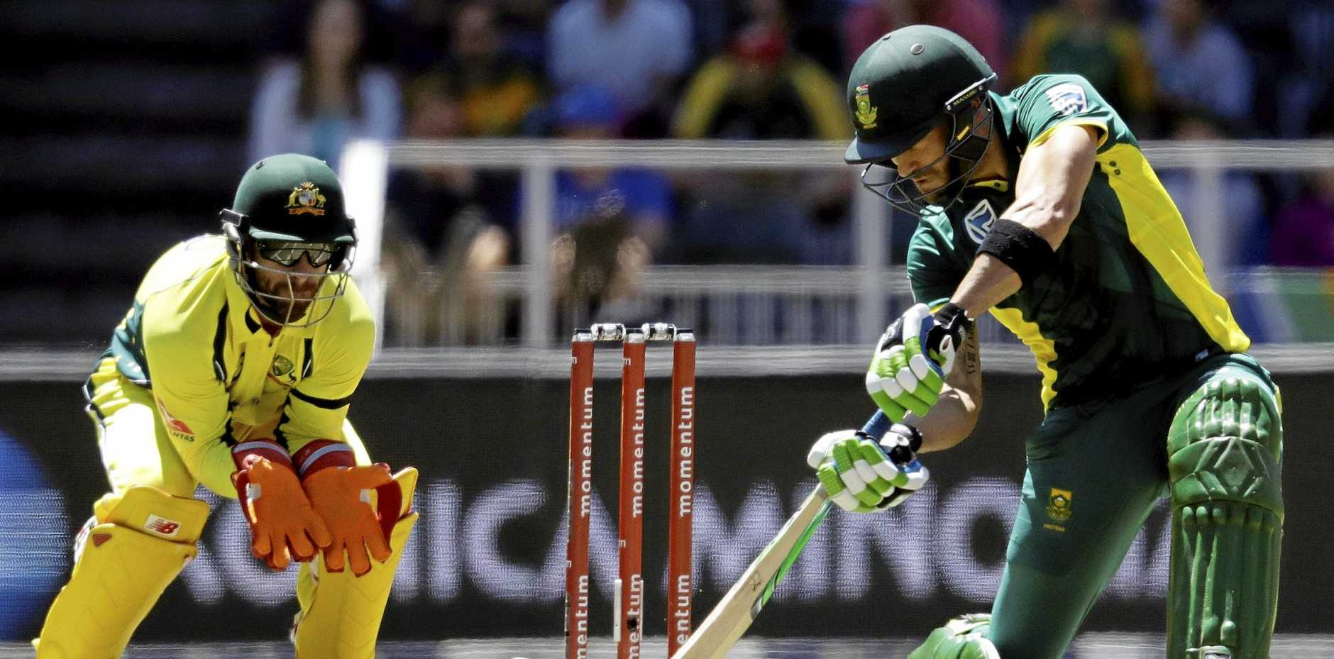 South Africa captain Faf du Plessis plays a shot during his know of 111.