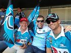 FINALLY: Bob Little with his sons Andrew and Michael supporting the Sharks at the NRL grand final.