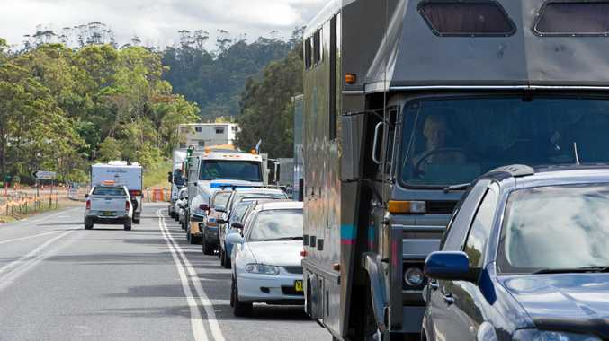 Traffic held up on Pacific Highway.
