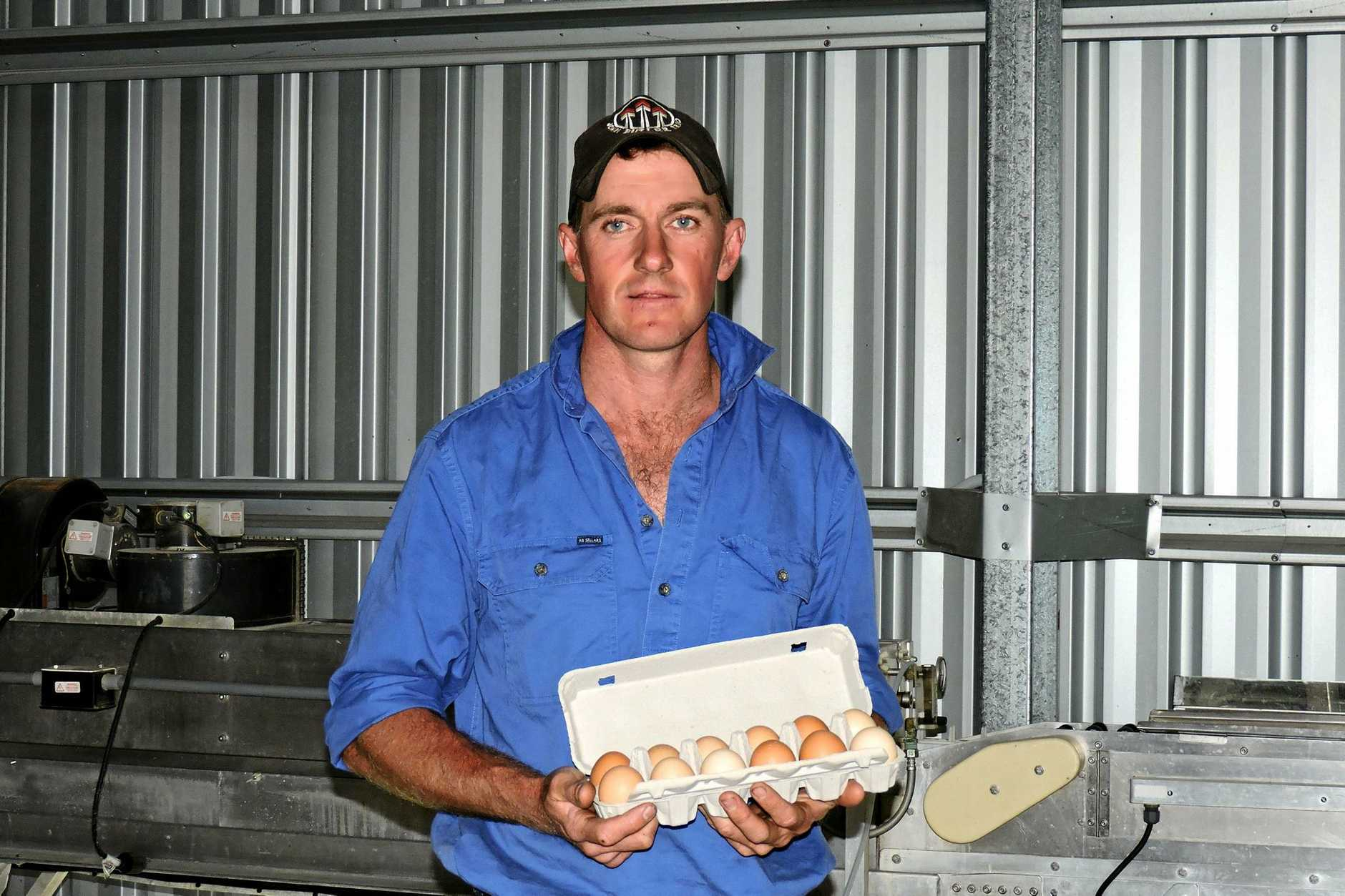EGGCELLENT: Dan Carney and the finished product ready to sell.
