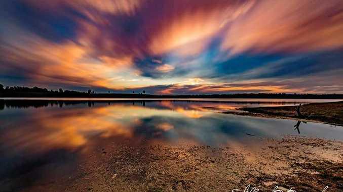 WINNER: Today's sunset at Wivenhoe Dam.