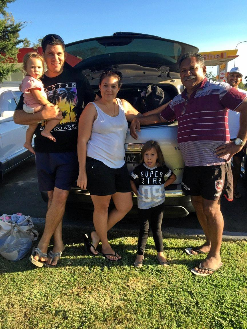 Rohan and Jasmine Brealey, with their children Milah and Jaylah, and Ben Barba's dad Ken at a pit stop on the way to Sydney to watch the NRL grand final.