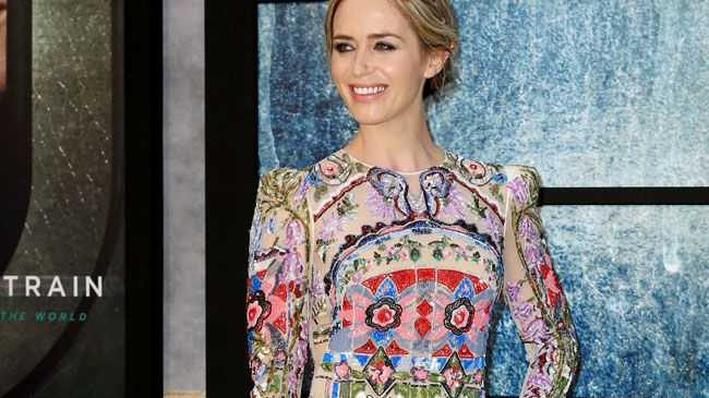 Actor Emily Blunt promoting The Girl on the Train