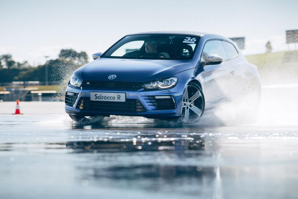 CONTROLLED SLIDE: VW's fun-packed Scirocco R is one of the performance cars you sample on the Volkswagen Driving Experience.