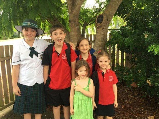 Bruce Devereax's children ready to get back to school.