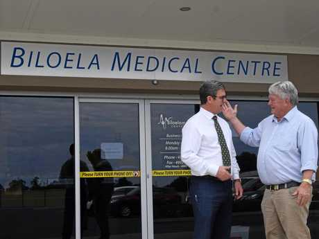 GIVING A TOUR: Flynn MP Ken O'Dowd (right) shows Assistant Rural Health Minister David Gillespie around Biloela.