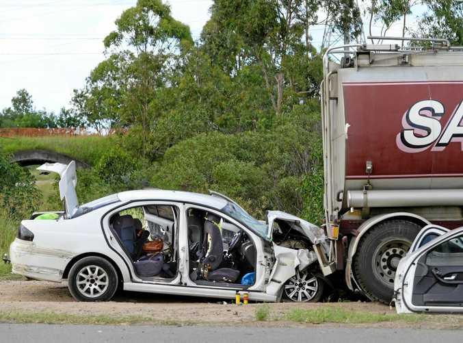 Crash scene on Redbank Plains Road at Blackstone after police chase.