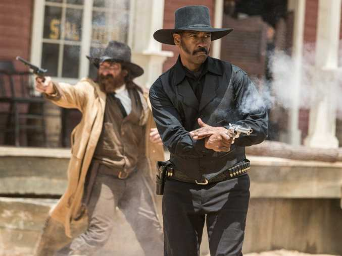 Denzel Washington in a scene from the movie The Magnificent Seven.