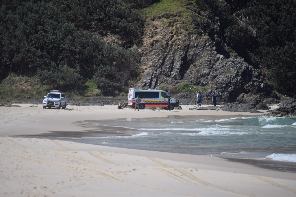 TALLOW BEACH: Police and Ambulance attended as Brunswick Valley and District VRA assist the would-be climber down after he became stuck half way up the cliffs above Tallow Beach in Byron Bay.The middle aged man was un-harmed after his ordeal.