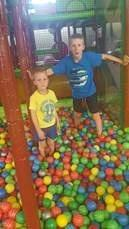 Connor and Ethan Long getting ready to throw balls at each other at the Gympie Jungle.