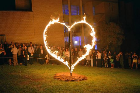 Wayne Blair lights the heart for the  Heart of Gold Film Festival opening 2015  Photo Craig Warhurst /  The Gympie Times