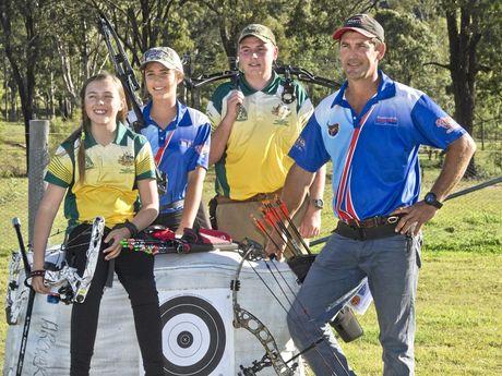 Murphys Creek World Field Archery Championship medal recipients (from left) Amber Reinbott, Josie Hughes, Ethan Wilson and Troy Hughes.
