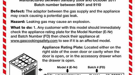 The recall notice for the Bosch Freestanding Gas/Electric Cooker 60cm.