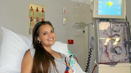 Natasha Hopson in hospital on dialysis after her body rejected the donor kidney from her uncle after eight years.