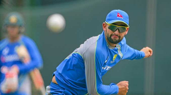 Australia's Nathan Lyon delivers a ball during a practice session ahead of their second one day international cricket match against Sri Lanka in Colombo, Sri Lanka, Tuesday, Aug. 23, 2016. (AP Photo/Eranga Jayawardena)