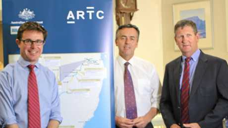 ALL ABOARD: Member for Maranoa David Littleproud, Transport Minister Darren Chester, and Member for Southern Downs Lawrence Springborg joined ARTC staff at Scots PGC College to consider the future direction for the Brisbane to Melbourne inland rail project.