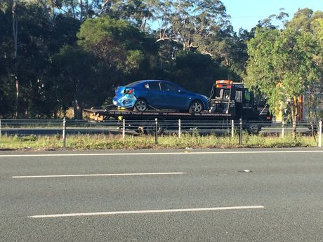 A car involved in the Sunshine Motorway crash