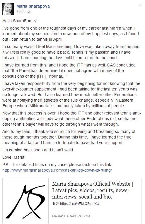 Maria Sharapova on Facebook