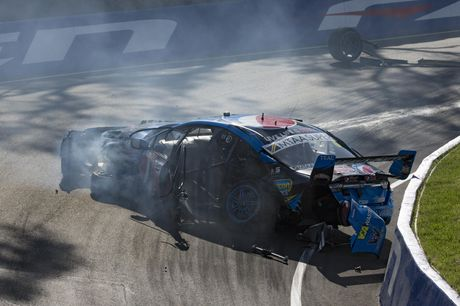 Mostert's car comes to a crashing halt at Bathurst last year.