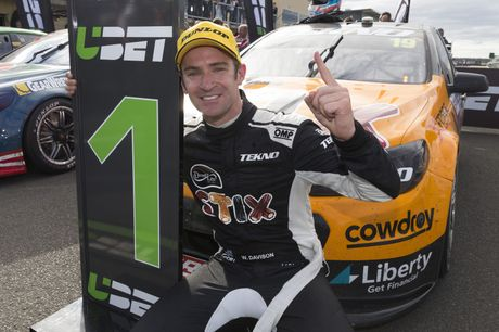 Will Davison after his win in round two of this year's Supercars series in Tasmania.
